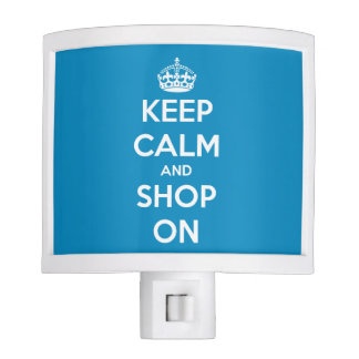 Keep Calm and Shop On Blue and White Night Light