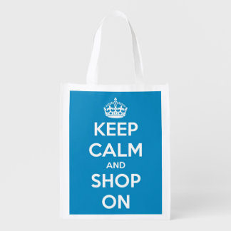 Keep Calm and Shop On Blue and White Personalized Reusable Grocery Bags