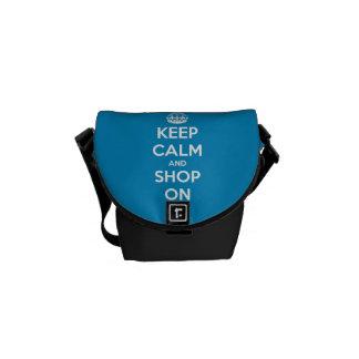 Keep Calm and Shop On Blue Messenger Bag