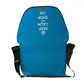 Keep Calm and Shop On Blue Courier Bag