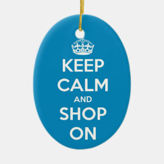 Keep Calm and Shop On Blue Oval Ornament