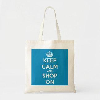 Keep Calm and Shop On Blue Reusable Cloth Tote Bag