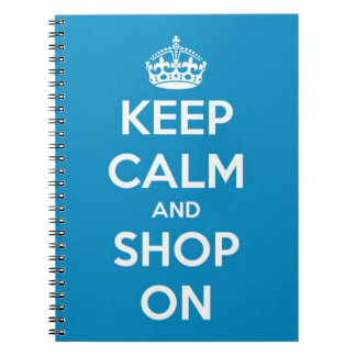 Keep Calm and Shop On Blue Spiral Notebook