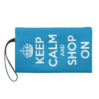 Keep Calm and Shop On Blue Wristlet Purse