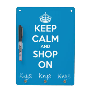Keep Calm and Shop On Bright Blue Dry-Erase Board