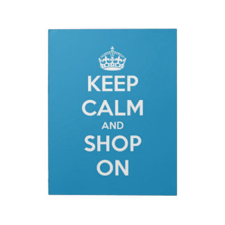 Keep Calm and Shop On Bright Blue Notepad