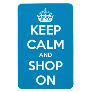 Keep Calm and Shop On Bright Blue Rectangular Photo Magnet