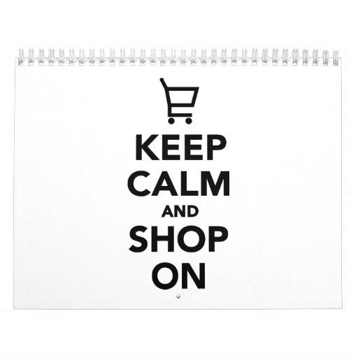 Keep calm and shop on wall calendar