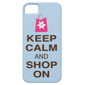 KEEP CALM and SHOP ON Gray Pink Brown iPhone5 Case