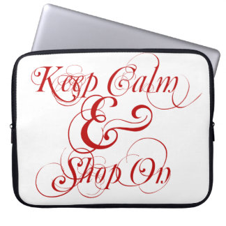 Keep Calm and Shop On laptop bag