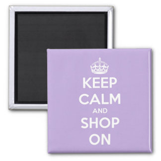 Keep Calm and Shop On Lavender 2 Inch Square Magnet