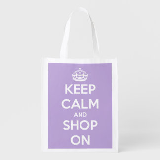 Keep Calm and Shop On Lavender and White Market Tote