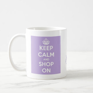 Keep Calm and Shop On Lavender Coffee Mug