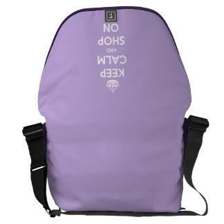 Keep Calm and Shop On Lavender Courier Bag