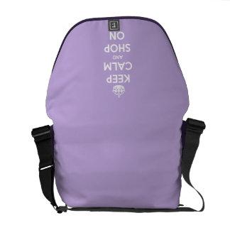 Keep Calm and Shop On Lavender Messenger Bag
