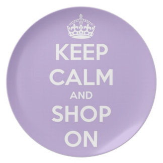 Keep Calm and Shop On Lavender Plate