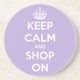 Keep Calm and Shop On Lavender Sandstone Coaster
