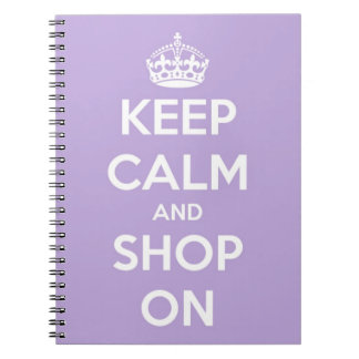 Keep Calm and Shop On Lavender Spiral Notebook