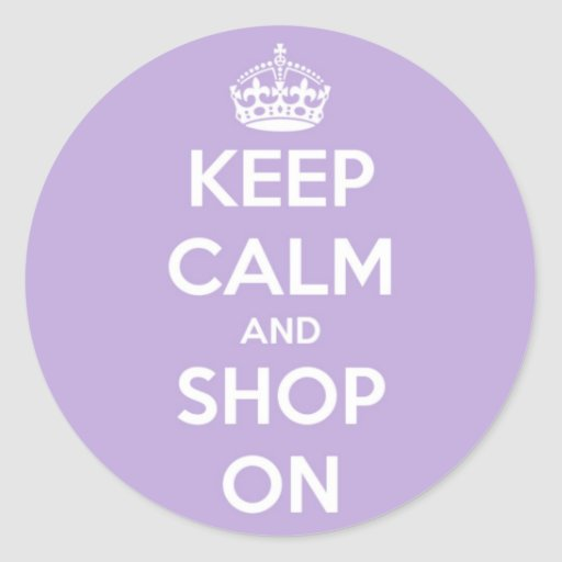 Keep Calm and Shop On Lavender Stickers