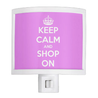 Keep Calm and Shop On Pink and White Night Light