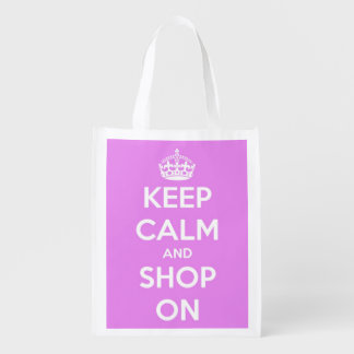 Keep Calm and Shop On Pink and White Personalized Market Tote