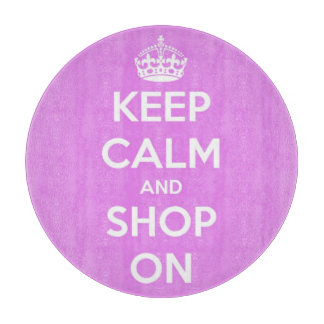 Keep Calm and Shop On Pink and White Round Cutting Board