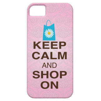 KEEP CALM and SHOP ON Pink Blue iPhone5 Case iPhone 5 Cover
