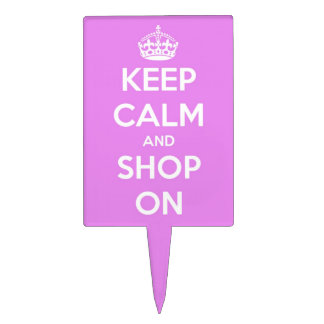 Keep Calm and Shop On Pink Cake Topper