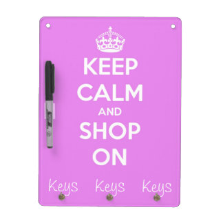Keep Calm and Shop On Pink Dry Erase Board