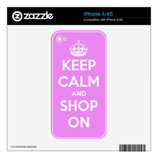 Keep Calm and Shop On Pink iPhone 4S Decal