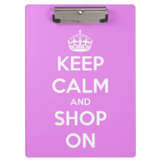 Keep Calm and Shop On Pink Personalized Clipboard