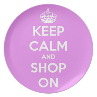 Keep Calm and Shop On Pink Plate