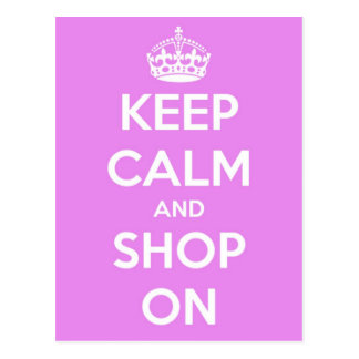 Keep Calm and Shop On Pink Postcard