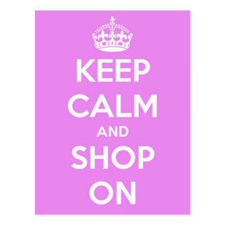 Keep Calm and Shop On Pink Postcard