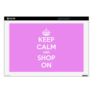"""Keep Calm and Shop On Pink 17"""" Laptop Skins"""