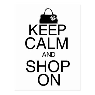 Keep Calm and Shop On Postcard