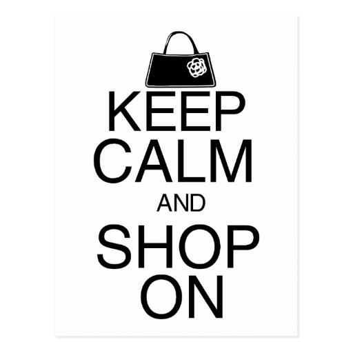 Keep Calm and Shop On Postcards