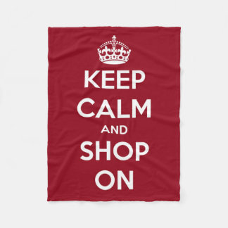 Keep Calm and Shop On Red and White Fleece