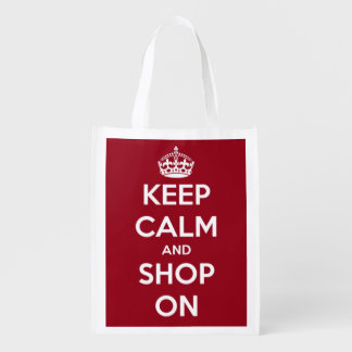 Keep Calm and Shop On Red and White Personalized Reusable Grocery Bags