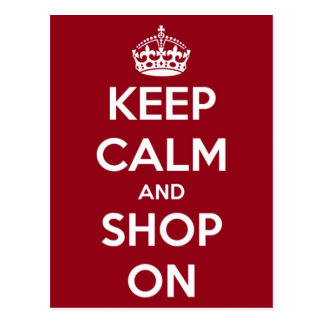 Keep Calm and Shop On Red and White Postcard