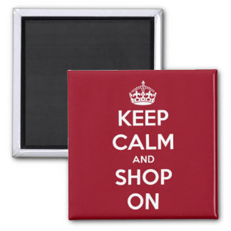 Keep Calm and Shop On Red and White Square 2 Inch Square Magnet
