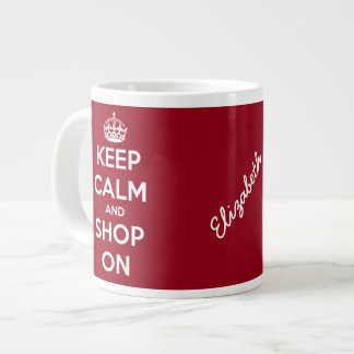 Keep Calm and Shop On Red Personalized Large Coffee Mug