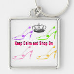 Keep Calm and Shop On Shoes Keychains