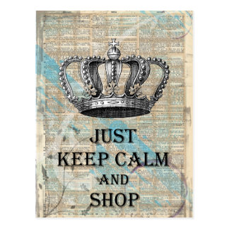 Keep Calm and Shop Vintage Abstract Art Design Postcard