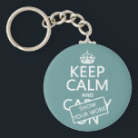 "Keep Calm and Show Your Work (any color) Keychain<br><div class=""desc"">This is the classic Keep Calm poster, redesigned to read &#39;Keep Calm and Show Your Work&#39;. It&#39;s the eternal message of teachers and college professors the world over. It&#39;s one of my most popular designs, and makes great gifts for students or teachers, or great posters and mugs for classrooms and...</div>"