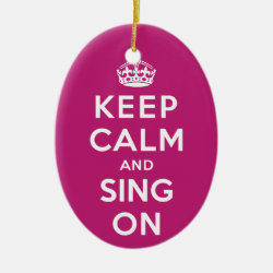 Oval Ornament with Keep Calm and Sing On design