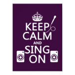 Keep Calm and Sing On (Karaoke) 5.5x7.5 Paper Invitation Card