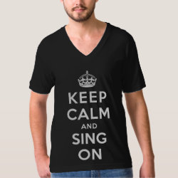 Men's American Apparel Fine Jersey V-neck T-Shirt with Keep Calm and Sing On design