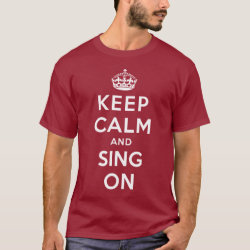 Men's Basic Dark T-Shirt with Keep Calm and Sing On design