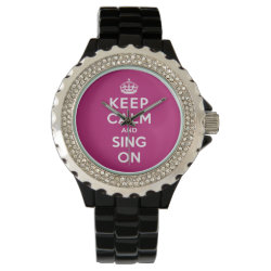 Women's Rhinestone Black Enamel Watch with Keep Calm and Sing On design